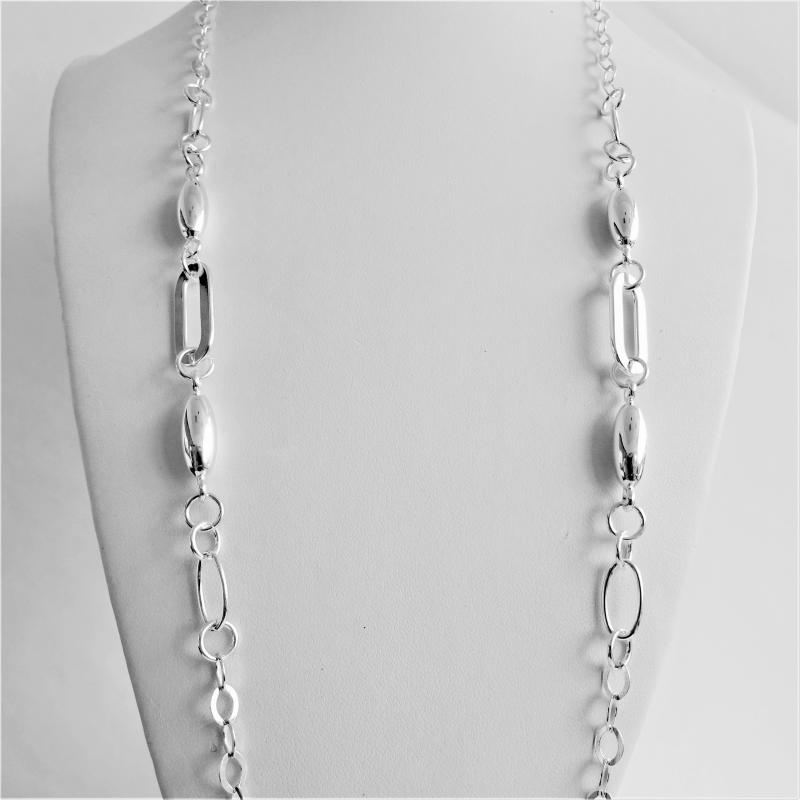 Long sterling silver necklace 80 cm