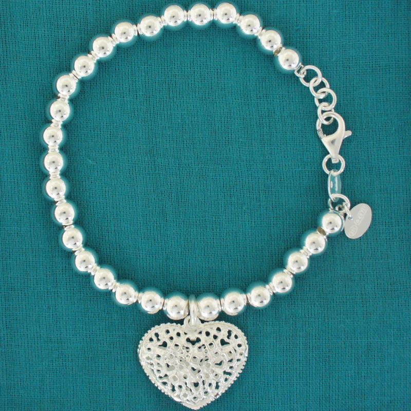 Sterling silver bead bracelet for woman 6mm with heart charm