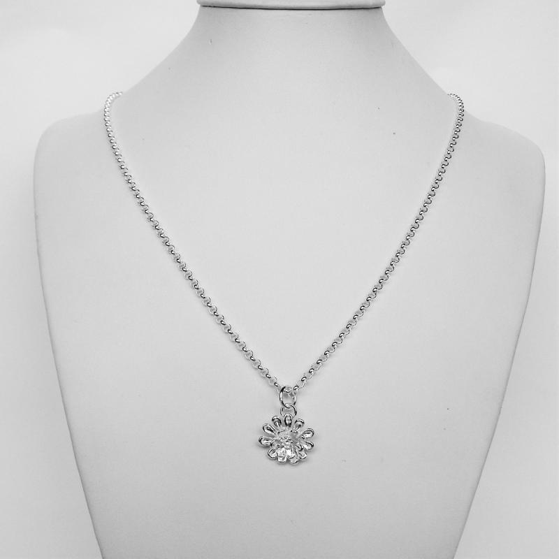 Collana argento pendente fiore