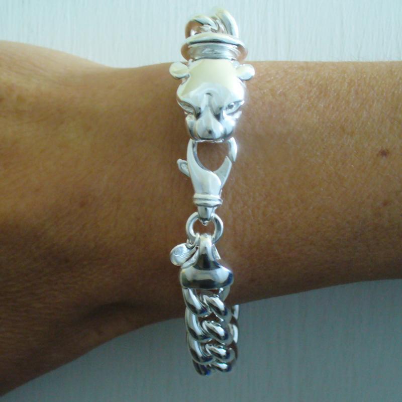 Bracciale argento 925 grumetta testa di pantera - Bracciale argento unisex