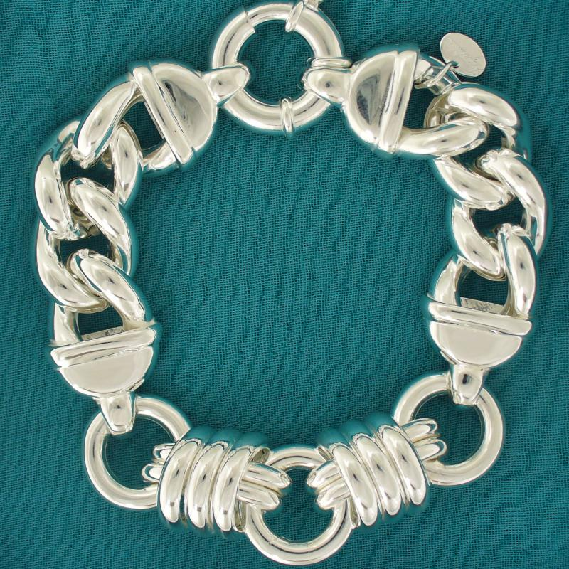 Women's ladies sterling silver link bracelet.