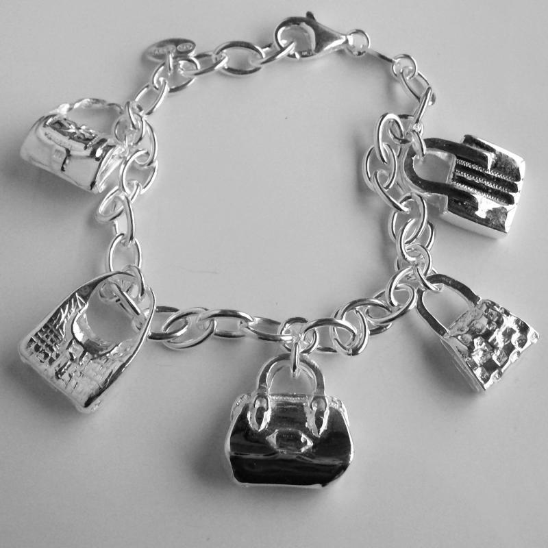 Bracciale charms borse borsette argento