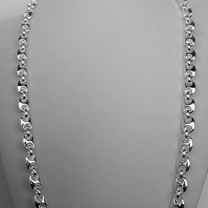 Sterling silver men's marina necklace