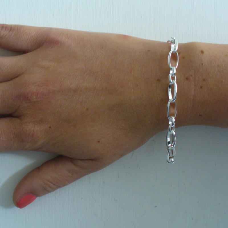 Gioielli in argento - Braccialetto rolo alternato in argento