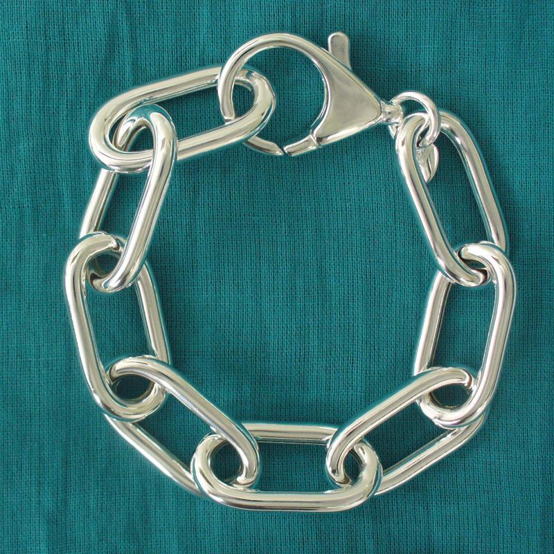 Catena in argento 925  allungato - Bracciale maglie lunghe in argento