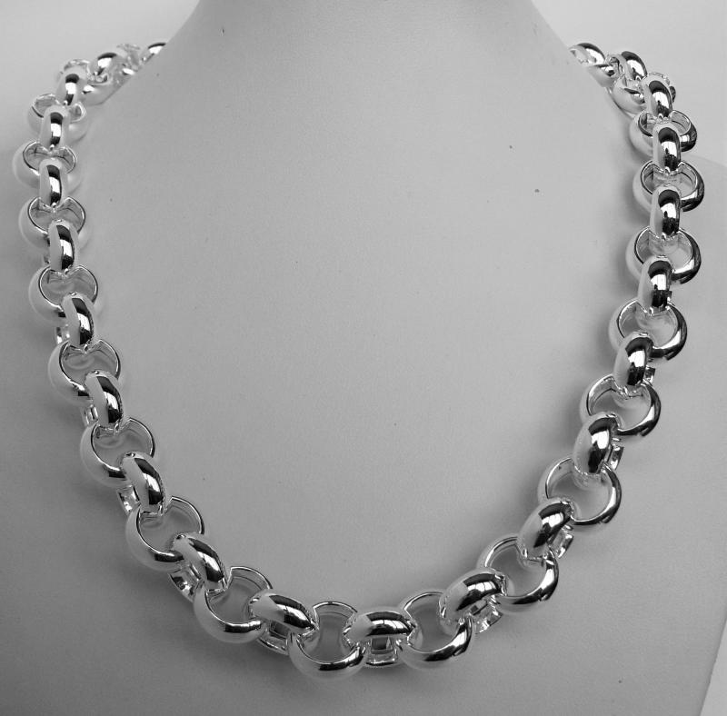 Sterling silver round rolo link necklace