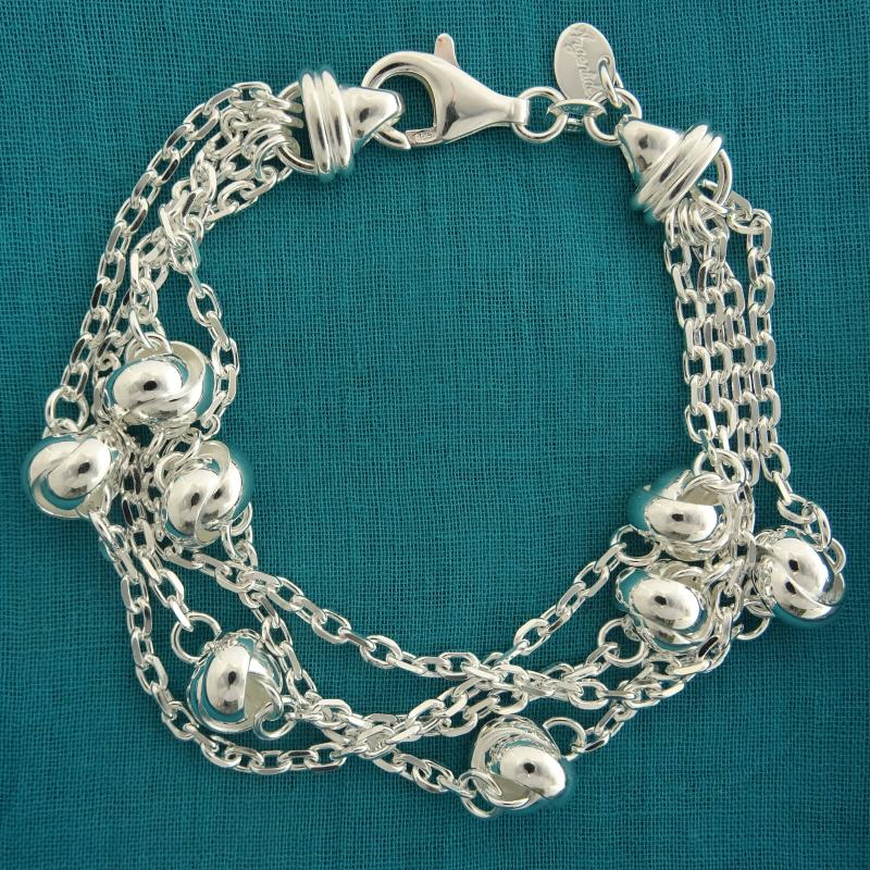 Bracciale 4 file multifilo per donna in argento 925
