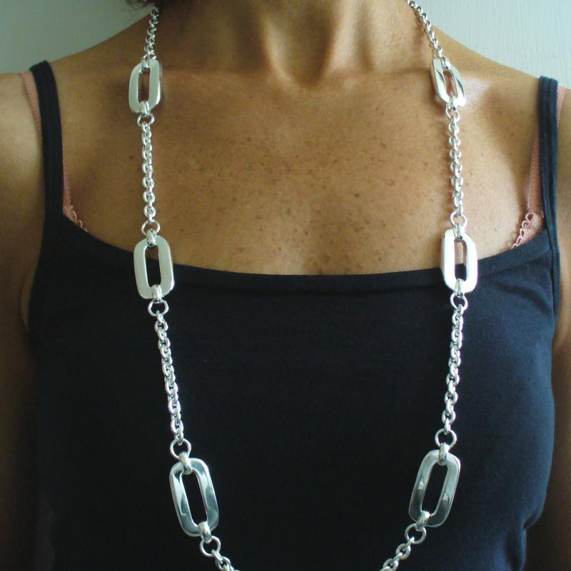 Long silver necklace cm 90