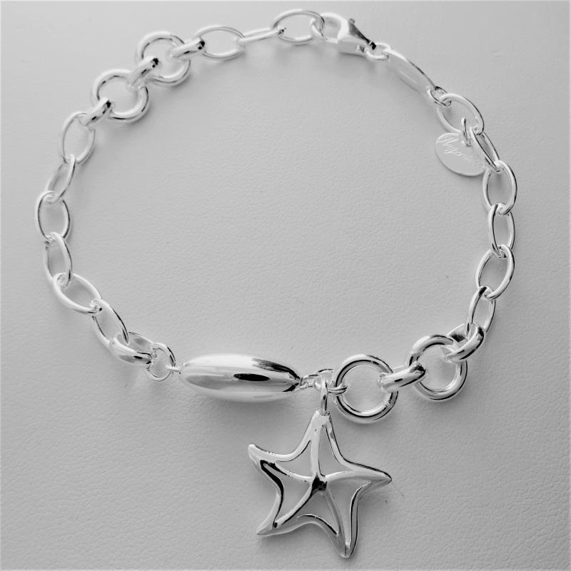 Sterling silver charm bracelet, starfish
