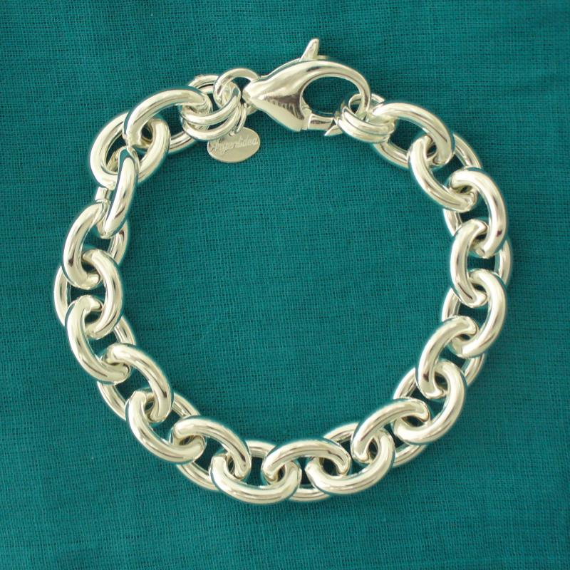Bracciale artigianale classico in argento - Gioielli catena maglie ovali