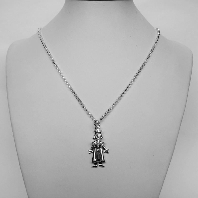 Collana argento pendente re e regina.