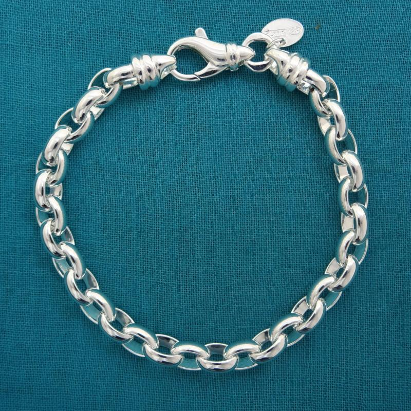925 silver oval rolo bracelet made in italy