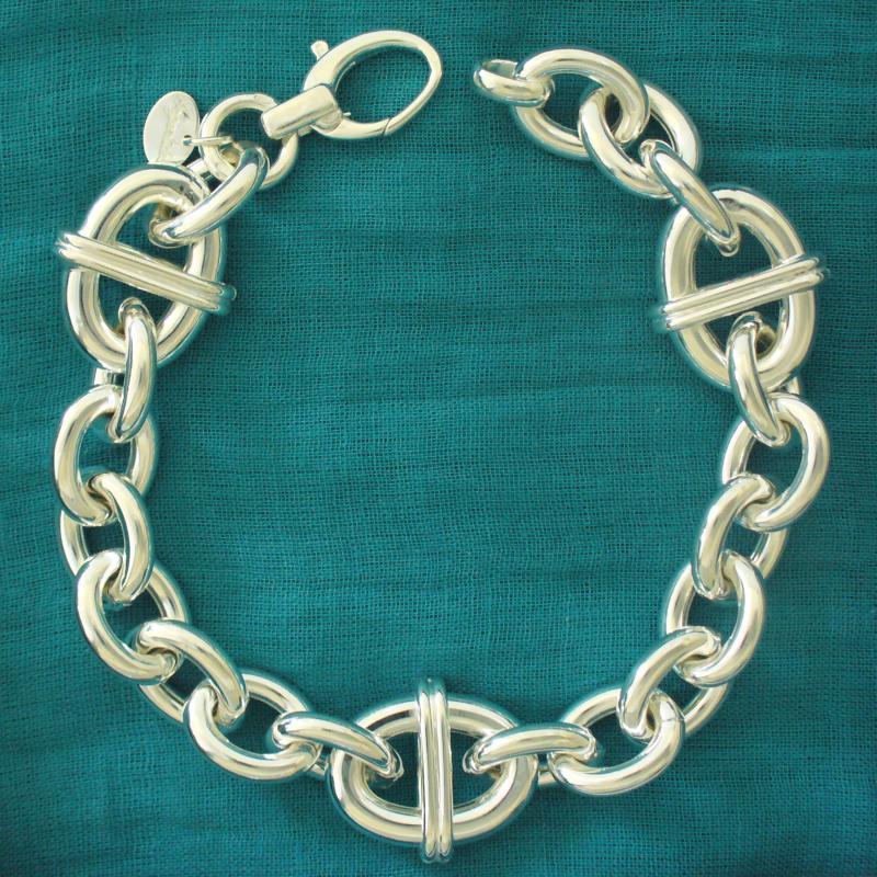 Bracciale argento 925 catena forzatina maglia fantasia per donna