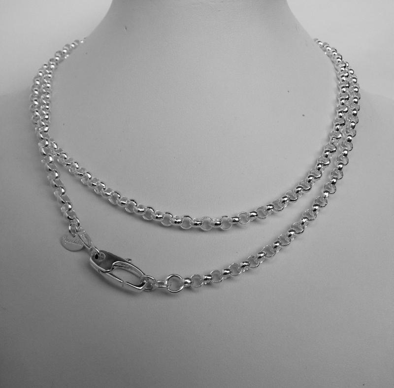 Sterling silver round rolo necklace cm 75