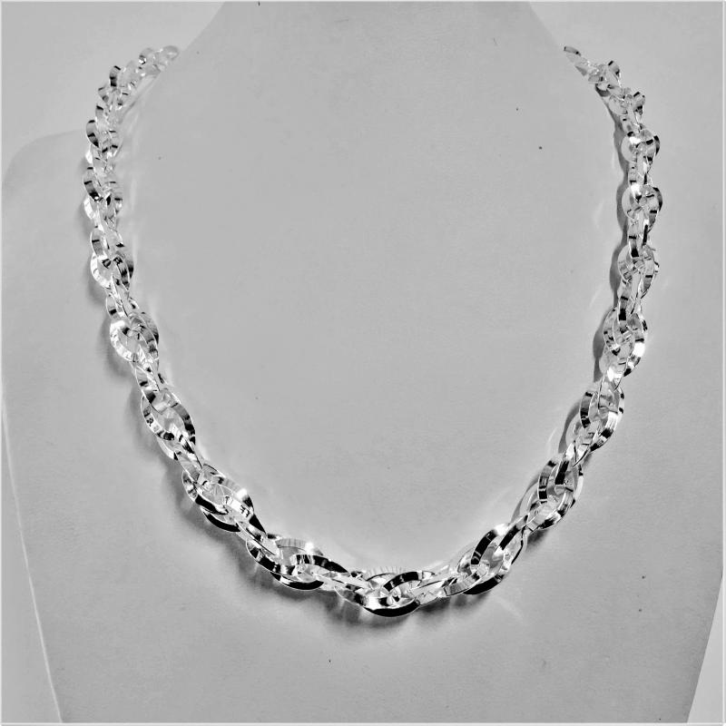 Silver double link necklace 8,5mm