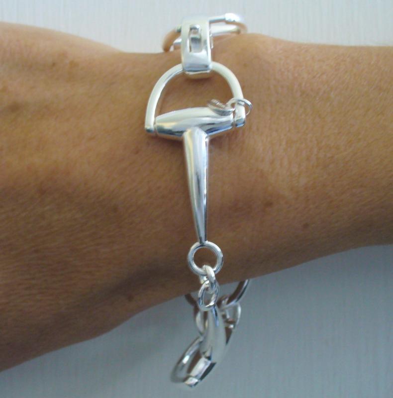 Solid silver horsebit bracelet