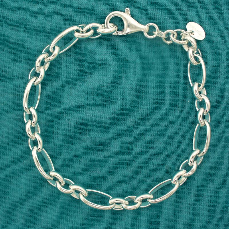 Figaro oval bracelet in solid silver