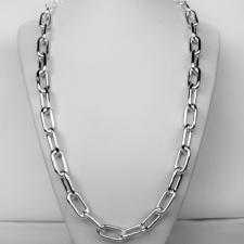 Long sterling silver rectangular link necklace 10mm. Hollow chain. Cm 60.