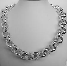 Sterling silver round rolo link necklace 18mm. Hollow link. Silver belcher necklace.
