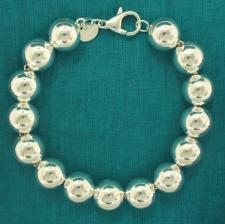 Sterling silver bead bracelet 12mm.
