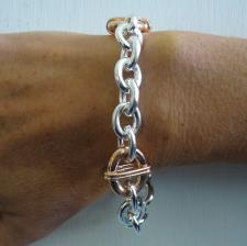 Sterling silver bracelet with rose gold plating