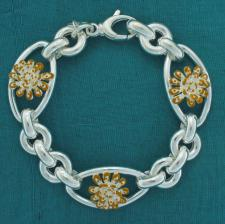 Sterling silver enamel floral flower bracelet