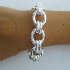 Handmade silver bracelet oval link