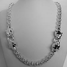 Sterling silver panther necklace. Round rolo link chain 9mm.