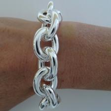 Sterling silver large oval link bracelet 18mm. Hollow chain.