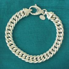 Sterling silver double curb bracelet 10mm. Hollow link.