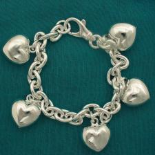 925 silver heart charms bracelet made in Italy.
