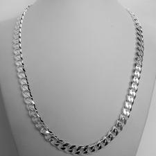 Sterling silver solid diamond cut curb necklace 8mm x 2,5mm. LENGHT 50 CM.