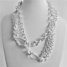 Long sterling silver necklace cm 90, made in Italy. Hollow link chain 95 grams.