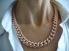 925 silver 18kt rose gold plating curb necklace