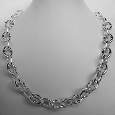 Handmade sterling silver necklace. Asymmetrical oval link 12mm.