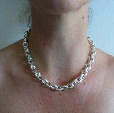 Oval rolo necklace 10mm in sterling silver