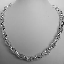 Handmade sterling silver necklace. Double oval link 9mm.