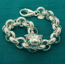 Women's sterling silver panther bracelet. Round rolo link chain 12mm.