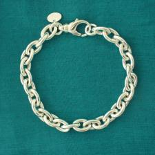 Sterling silver oval link bracelet 8mm. Hollow chain.