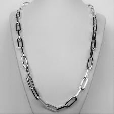 Sterling silver rectangular link necklace 8,5mm. Solid chain. Cm 60.