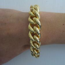Sterling silver curb bracelet with 18 kt yellow gold plating