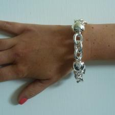Sterling silver bracelet. Women's ''Barilotto'' link chain 18mm.
