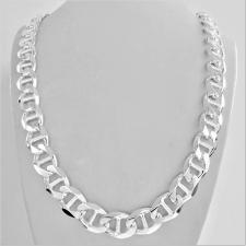 Sterling silver flat marina chain necklace 12mm. Length 60 cm. 121 GRAMS.