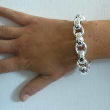 Sterling silver oval rolo link bracelet 14mm. Hollow silver chain