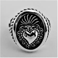 Anello donna cuore sacro ex voto in argento 925