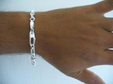 Sterling silver men's oval link bracelet