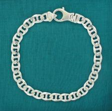 Men's sterling silver flat marina bracelet 7mm
