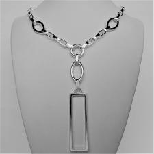 Sterling silver necklace rectangular pendant