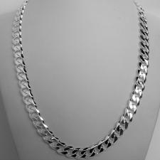 Sterling silver solid diamond cut curb necklace 10mm x 3mm. LENGHT 50 CM.