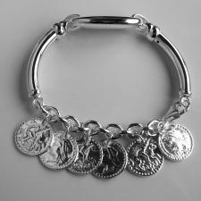 Silver bracelet with money charms